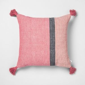 Hearth & Hand Color blocked square pillow tassels